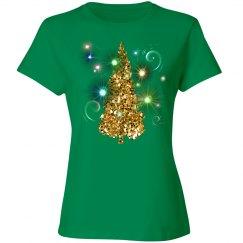 Golden Christmas Tree Glowing Lights
