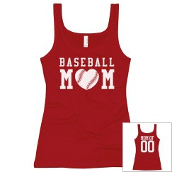 Baseball Mom Custom Number Tank Top