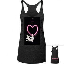 Unicorn on Heart Shaped Lyra (black background) Tank