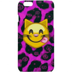 Purple Pink Cheetah Emoji Cat