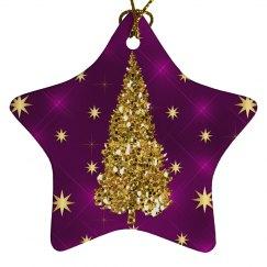 Golden Christmas Tree & Stars Purple