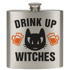 Drink Up Witches Black Cat Flask