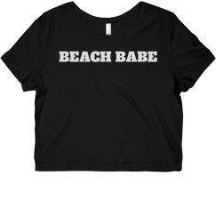 Beach Babe Cali Crop Top Tee Black