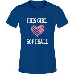 Girl loves softball