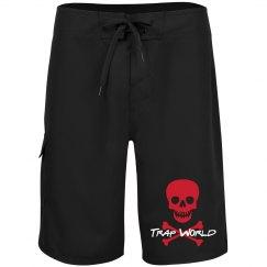 TWA - BLK Skull BoardShrts