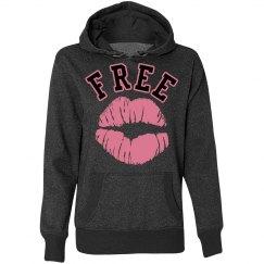 Free Kisses Lips American Glitter Hoodie