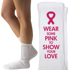 Wear Pink Breast Cancer Charity Socks