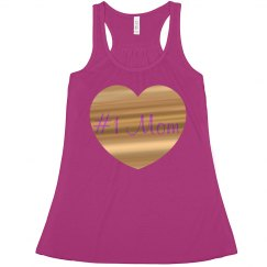#1 Mom Fuschia Gold Metallic Heart