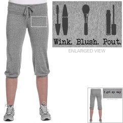 Wink. Blush. Pout. I get my way. cropped sweat pants