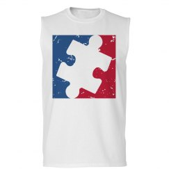 Distressed Major League AUTISM Logo Shirt (sleeveless)