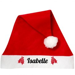 Your Name Santa Hat With Holly