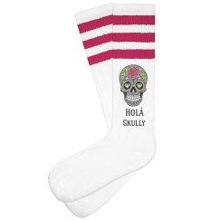 Hola Skully Pink Socks