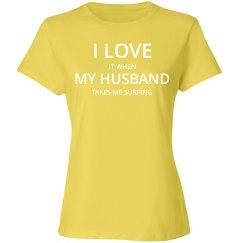 Love husband love surfing t-shirt