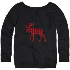 Plaid Moose Christmas Sweater