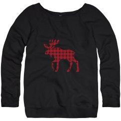 Plaid Moose Christmas Sweater