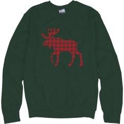 Plaid Moose Sweater Christmas