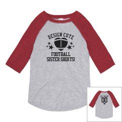 Little Football Sister Shirts With Custom Name Number