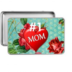#1 Mom Red Heart & Roses Sea Green