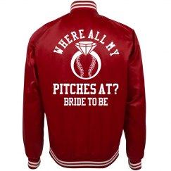 Trendy Baseball Bachelorette Bride Jacket