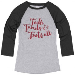 Red and Black Faith, Family, and Football shirt