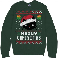 Meowy Christmas Cat Ugly Sweater For Holiday Parties