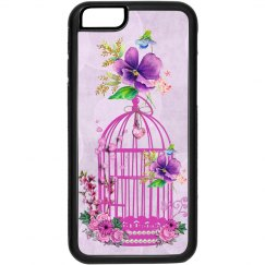 Pink Floral Birdcage Soft Purple