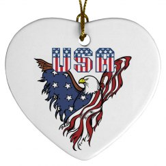 Patriotic American Eagle Heart
