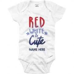 Custom Name Red White Cute Onesie