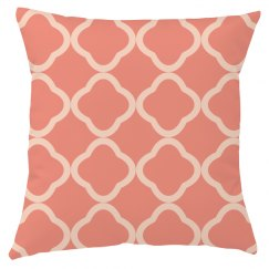 Coralatte Quatrefoil Throw Pillow Cover