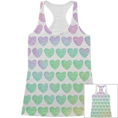 Pastel Heart All Over Print Tank