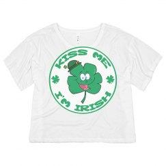 Kiss Me I'm Irish Clover Face
