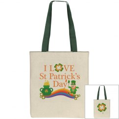 I Love St Patrick's Day, Tote Bag