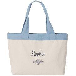 Sophia personalized canvas tote bag
