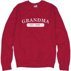 Custom Grandma EST. Sweater