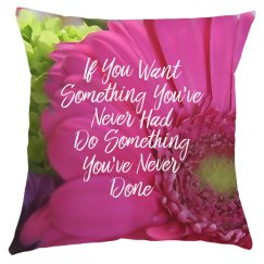 Pink Daisy Motivational Pillow Cover