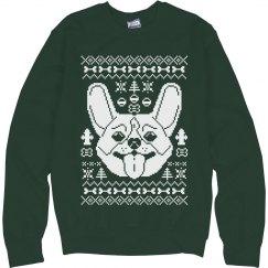 Green Corgi Ugly Sweater