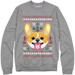 Grey Corgi Ugly Sweater