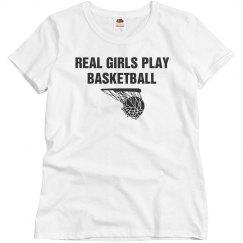 Real girl play basketball