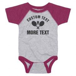 Custom Tennis Baby Text With Heart