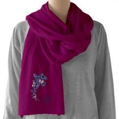 Blue Butterflies Monogram Scarf