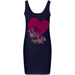 Deep Pink Heart & Flowers