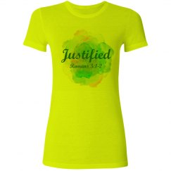 Justified - Romans 5:1-2 - Ladies Junior Fit Tee