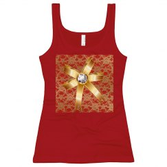 Gold Bow Gold &Red Floral