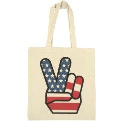 USA Peace Sign Hand America Tote