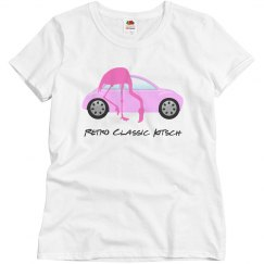 Retro Classic Car Pink Flamingo