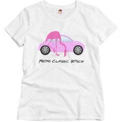 Retro Classic Car Pink Flamingo