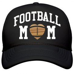 Football Mom Metallic Gold Heart