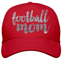 Metallic Silver Foil Football Mom