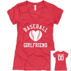 Cute and Trendy Custom Baseball Girlfriend VNeck Shirt