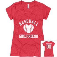Cute and Trendy Custom Baseball Girlfriend VNeck Shirt